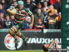 Leicester's Jordan Crane runs in one of his three tries at Welford Road