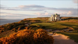 Castle Stuart golf clubhouse and course