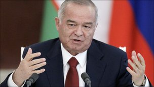Uzbek President Islam Karimov pictured at the Kremlin in Moscow on 20 April 2010