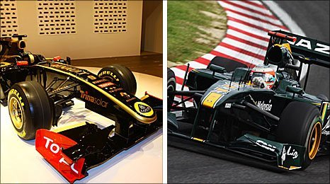 A Lotus-sponsored Renault and a Team Lotus car