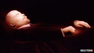 File picture of Vladimir Lenin&#039;s body inside his mausoleum on Red Square in Moscow