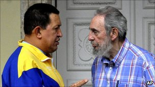 Hugo Chavez and Cuba's former president Fidel Castro in file photo from November 2010