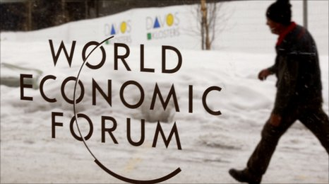 A logo of the World Economic Forum in Davos, Switzerland, 24 January 2011