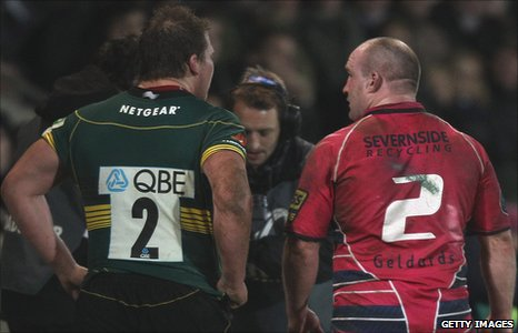 Northampton's Dylan Hartley and Blues' Gareth Williams clashed during their Heineken Cup campaign