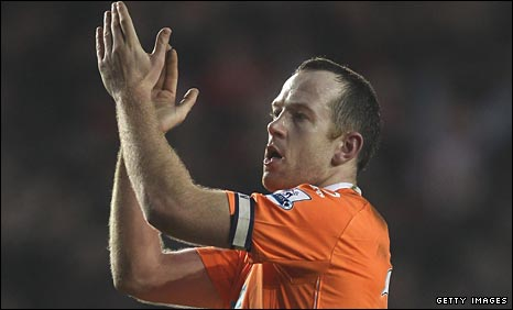 Charlie Adam thanks the Blackpool fans
