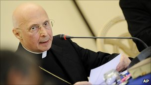 Cardinal Angelo Bagnasco, the head of the Italian bishops' conference, reads his message during a meeting in Ancona, Italy, 24 January 2011