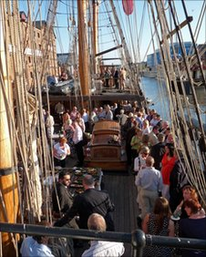 Crowds on board a tall ship at the 2009 festival in Gloucester