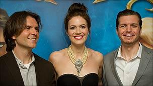 Mandy Moore with directors Byron Howard (l) and Nathan Greno (r)