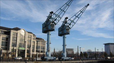 Blue cranes at Salford Quays