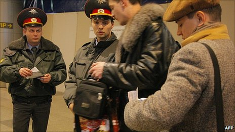 Security checks at Moscow&#039;s Domodedovo airport. 24 Jan 2011