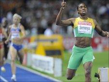 Caster Semenya winning women's 800m world championship race