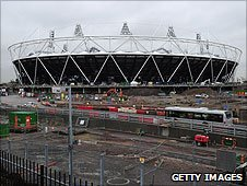 The Olympic Park building site in Stratford