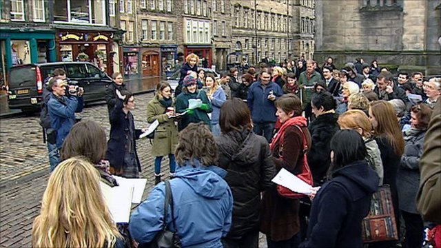 Flash mob in Edinburgh