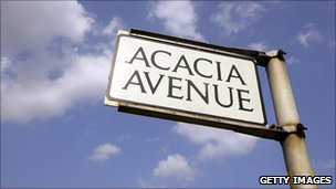 Acacia Ave street sign, symbol of middle class life