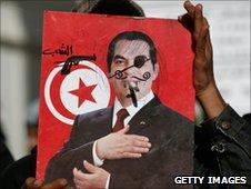 Defaced poster of Zine al-Abidine Ben Ali