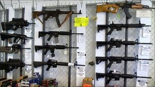 Assault rifles on sale in a shop in Houston, Texas