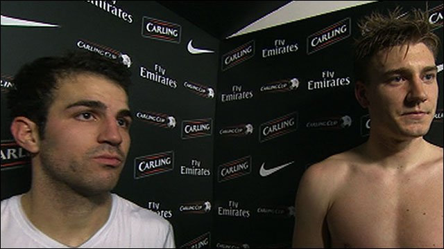 Cesc Fabregas and Nicklas Bendtner
