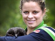 Kim Clijsters and a echidna called Matilda