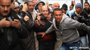Protesters near the prime minister's resident in Tunis