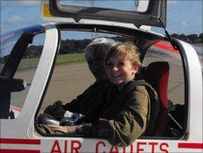 Cadet Corporal Charlotte Mannion in a glider