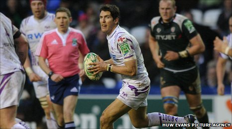 James Hook playing for the Ospreys against London Irrish in the Heineken Cup