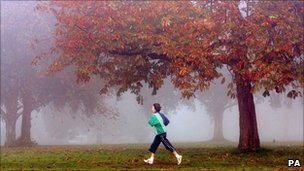 Jogger runs on the Downs