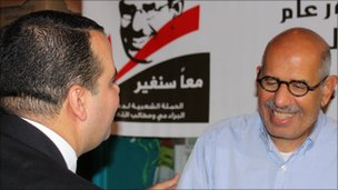 Mohamed ElBaradei meeting a supporter in Cairo