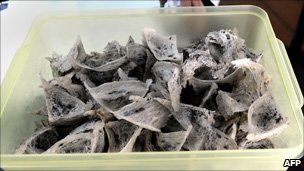 Dried bird's nests preserved in a plastic box at a shop in Crab Island off Port Klang, west of Kuala Lumpur