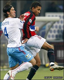 Willy Aubameyang (right) in action for AC Milan