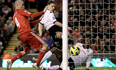 A messy own goal from John Pantsil gave Liverpool the lead against Fulham