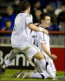 Chris Maguire congratulates Ryan Jack