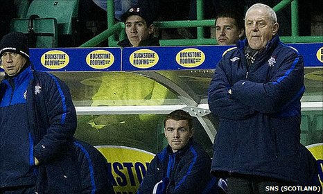 Rangers manager Walter Smith looks on from the Easter Road dugout