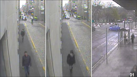 CCTV images of a woman and man walking in Thistle Street and blue car