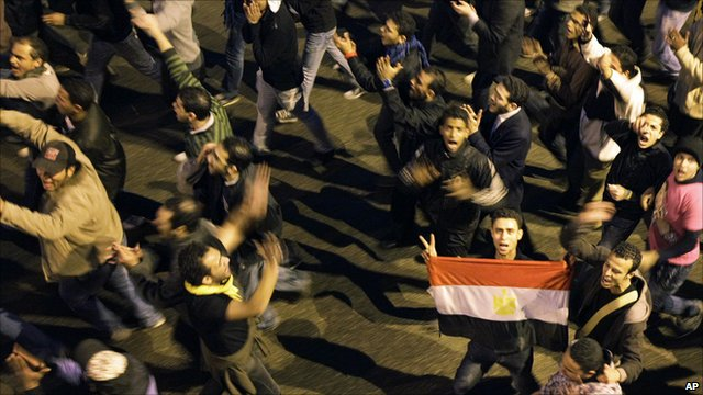 Protesters on the streets in Egypt