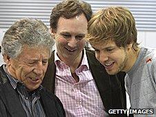 1978 world champion Mario Andretti, Red Bull boss Chrisian Horner and world champion Sebastian Vettel