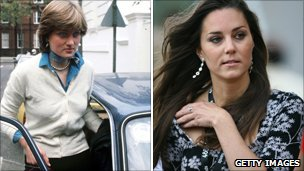 Diana in 1980 and Kate in 1998
