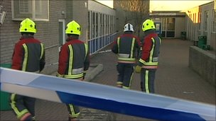 Firefighters at Treviglas school