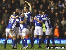 Birmingham City players celebrate beating West Ham in the Carling Cup