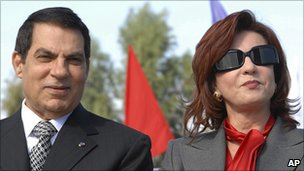 File photo of Zine al-Abidine Ben Ali and Leila Trabelsi (right), 2007