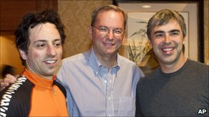 From left to right: Sergey Brin, Eric Schmidt and Larry Page
