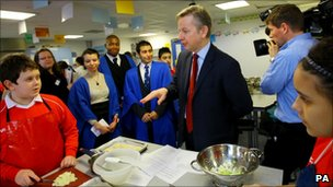 Education Secretary Michael Gove visits a school in Bromley, Kent
