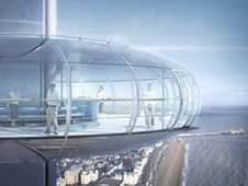 A comptuter generated image of visitors inside the i360 viewing pod