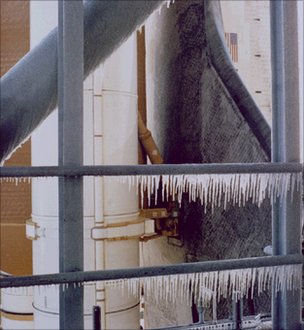 Icicles on launch pad