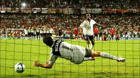 Ricardo saves Darius Vassell's penalty in Euro 2004