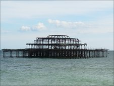 The remains of the Brighton West Pier