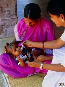 baby being vaccinated against polio