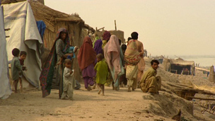 People living in makeshift shelters in Dadu district
