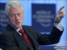 Former US president Bill Clinton attends a session at the World Economic Forum in Davos