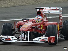 Fernando Alonso drives the new Ferrari F150 at the team's Fiorano test track