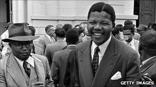Nelson Mandela leaves court in 1958 during his first treason trial